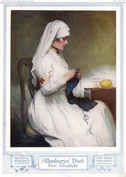 Advertisement for Allenbury's Diet for Invalids featuring a serene looking nurse sitting by a patient's bedside knitting. A teapot, containing, presumably, some Allenbury's concoction, sits on a bedside table