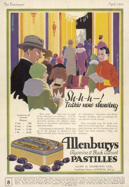 Advertisement for Allenbury's pastilles; this advert suggests that they will stop people coughing through a 'talkie&#39