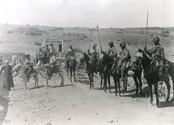 Troops of the Australian Mounted Division, together with Indian soldiers, at Jisr Benat Yakub (the Bridge of the Daughters of Jacob), south of Lake Huleh (Hula), on the advance to Damascus during the First World War. The bridge had been damaged by the enemy