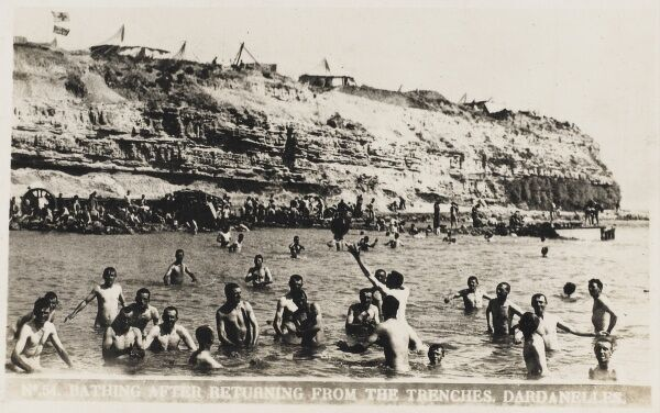 Allied troops bathing in the sea after returning from the front in the Dardenelles, Turkey