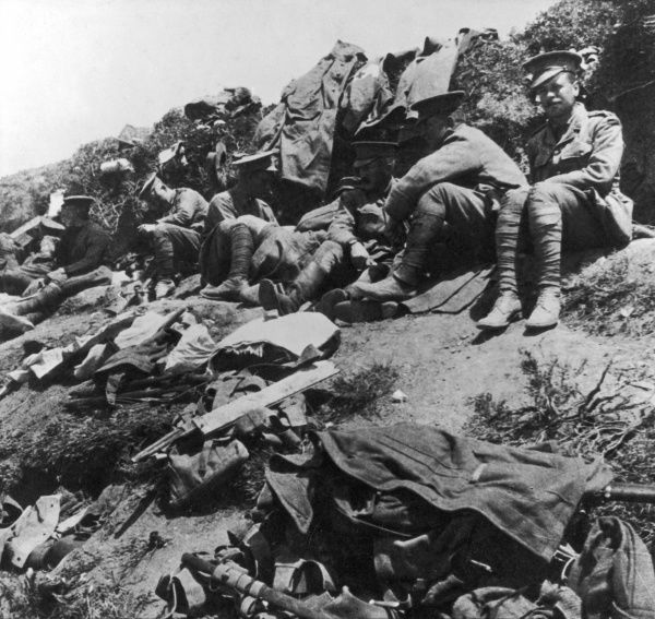 Allied troops resting before a ridge at Gallipoli during World War I