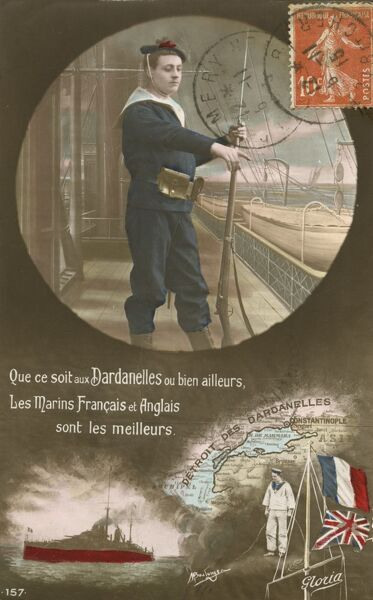The allies in the Dardanelles - a French postcard detailing the united allied effort by the French and the British in this region