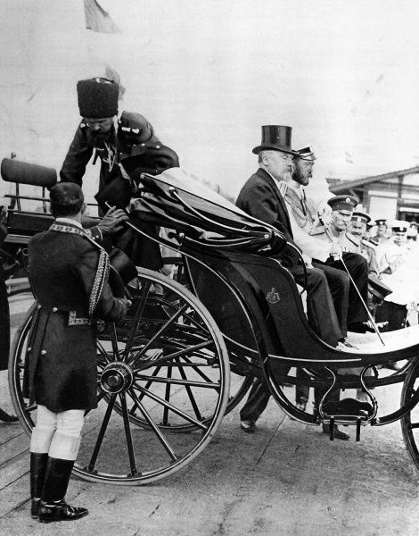 Photograph of Tsar Nicholas II of Russia and President Poincare of France seated together in a carriage