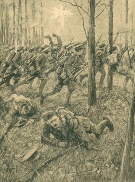 French infantry charging alongside Irish Guards and Grenadiers at Ypres during the First World War. Drawn from a description by Private P. Gilleece of the Irish Guards who lost his left arm and three fingers in the action