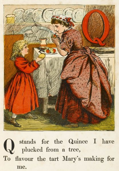 'Q' stands for the Quince I have plucked from the tree
