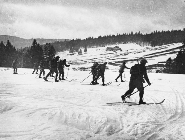 Alpine troops practising their skiing in the region of Collet, Vosges, during World War I