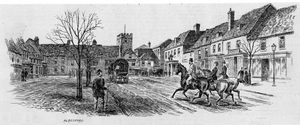 Riders in the main street of Alresford, Hampshire
