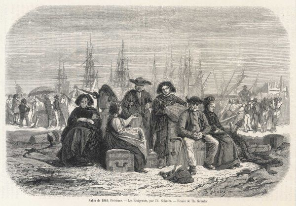 Emigrants from Alsace waiting at the quayside before boarding the ship for America