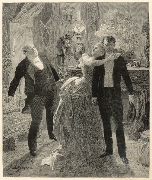 A lady flings her arms around her lover, shielding him from the other gentleman who seems to be bringing unwelcome news. It seems that three definitely is a crowd