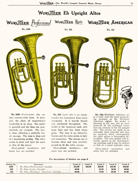 Three upright alto horns from the Wurlitzer catalogue - 'professional', 'lyric' and 'American' - you pays your money and you takes your choice