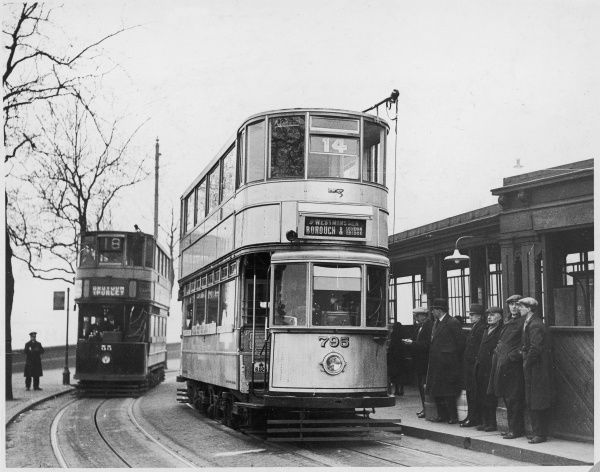 Trams with aluminium bodies are introduced on London's tramways : this one is on the Borough and LOndon Bridge route. Date: 1932