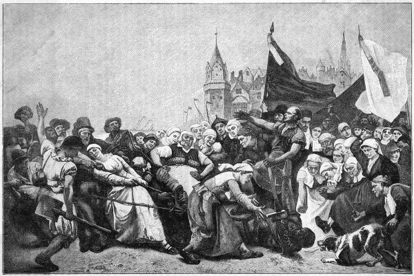 After he is safely out of the way, the statue of the hated Alva is dragged through the streets by the citizens of Antwerp