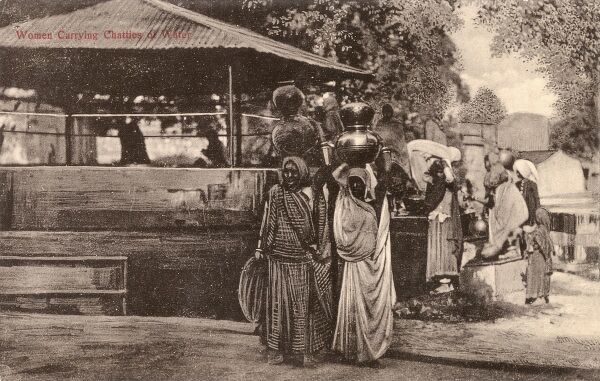 Ambala, India - Women carrying chatties of water Date: circa 1910s