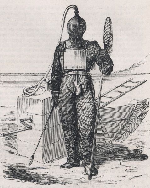 Diving dress and equipment of an amber hunter