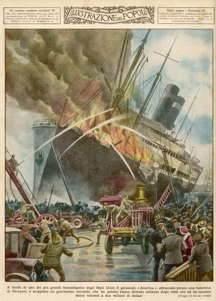The passenger liner on fire while anchored at Newport, Rhode Island