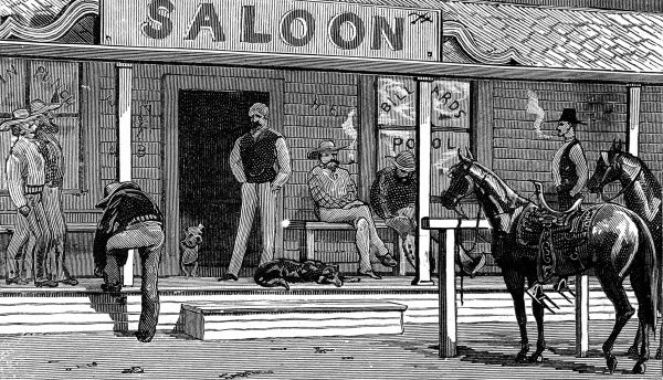 Wild west saloon exterior with horse tethered to post outside bar, cowboys loafing on the porch