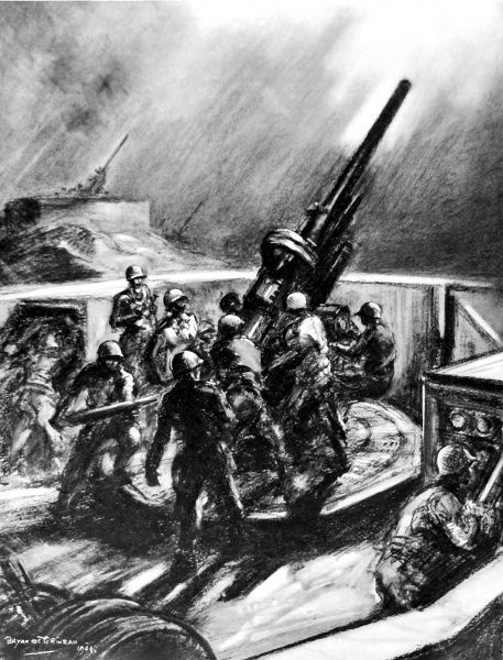 Illustration showing an American anti-aircraft unit firing at enemy bombers, during a German raid on London in 1944. The gun shown is a 90-mm weapon. This image was sketched by the Illustrated London News Special Artist, Captain Bryan de Grineau