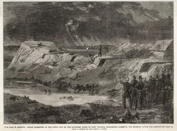 The bombardment of Fort Wagner, Charleston Harbour during the American Civil War