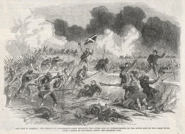 Longstreet's Texans re-take trenches from the Federals on the James river during the American Civil War