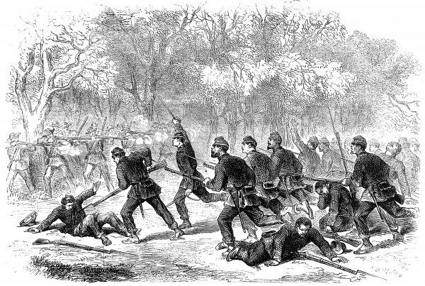 Desperate effort made by the 15th Massachusetts regiment to clear the woods by a bayonet charge. From a sketch by our special artist, Frank Vizetelly