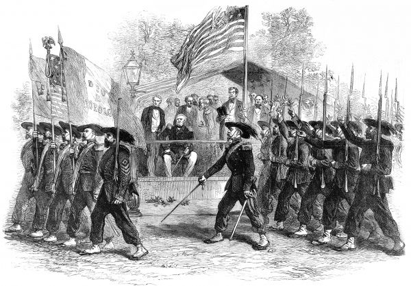 Review of the Federal troops by President Lincoln and General Scott showing the Garibaldi Guard filing past. From a sketch by special artist Frank Vizetelly. This scene is from the beginning of the Civil war, which started on 12th April 1861