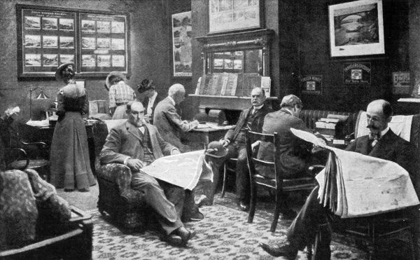 The American Express office in London is not just a travel agency, it's a home-from-home for American travellers. In its reading room they can read American newspapers. Date: 1900