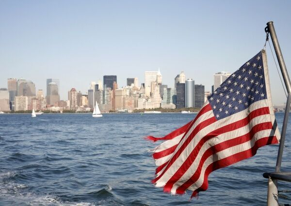 American Flag and the Downtown Skyline of the Financial District, New York, America circa 2008