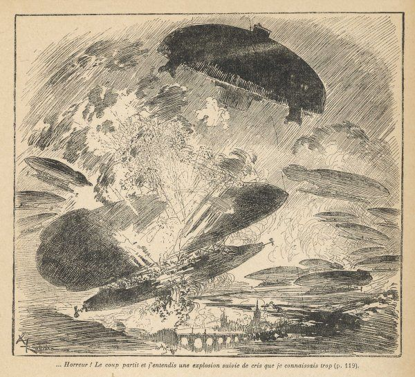 A 'flying saucer' of 1908 causes widespread destruction among conventional aircraft