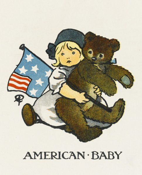 A little American girl holds her giant teddy bear tight