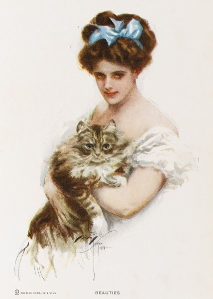 A pretty young American woman with a blue bow in her hair and a large tabby cat in her arms