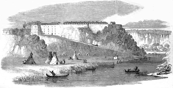 Sioux tents and canoes can be seen on and near the river. The Fort dominates the scene in the background