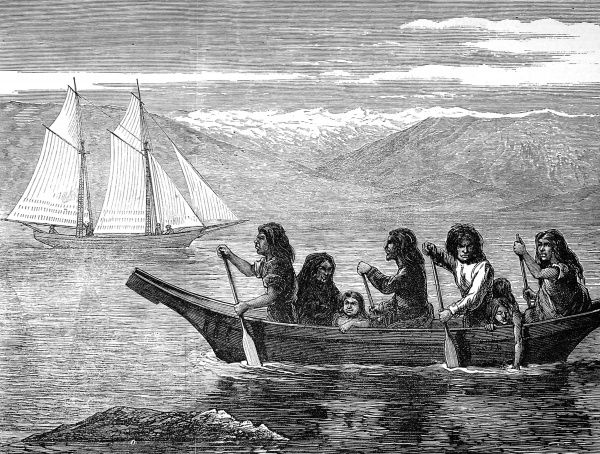 Fierce looking Indians, men, women and children, paddling canoe with a schooner in the background