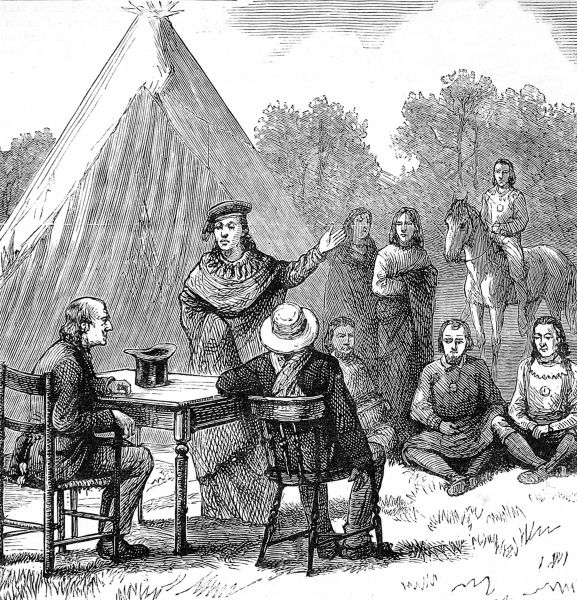 Sioux Chief negotiating with Quaker men