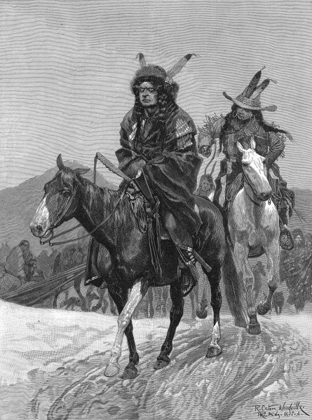 Indians in native costume with European influences seen in the headgear - a bowler with feathers. Throughout this period American Indians clashed with American troops, as they resented being taken away from their ancestral lands