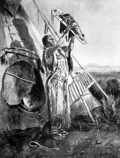 A Blackfoot mother holding up her baby to be blessed by the rising sun