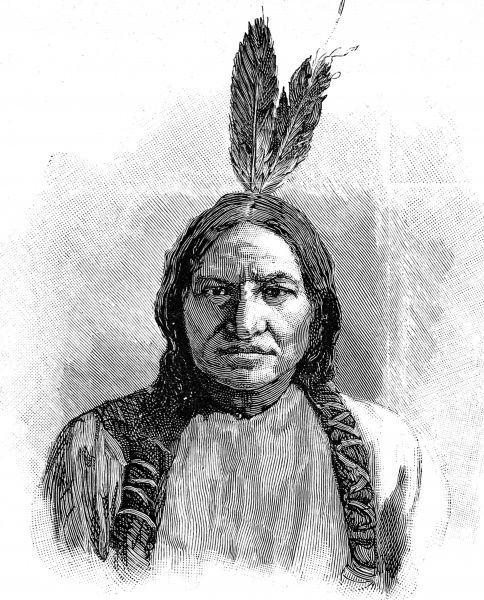 Portrait of Sitting Bull, in pig tails and wearing just 2 feathers rather than the full length war bonnet
