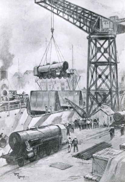 American locomotives arriving at a French port during the First World War. Date: 1914-1918