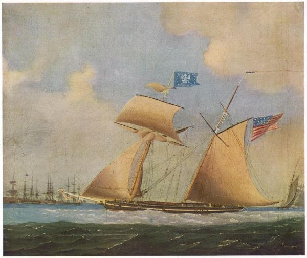 An American two-masted privateer, during the war between Britain and America