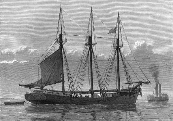 The American schooner, Jefferson Borden, on board which an attempted mutiny took place during April 1875, in the course of a trip from New Orleans to London. The mutiny was foiled by the Captain, William Manson Patterson, and the steward, Aitken