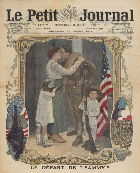 An American 'Sammy' kisses his wife goodbye as he leaves to join the war in Europe; his son holds his rifle in front of the flag while his daughter weeps