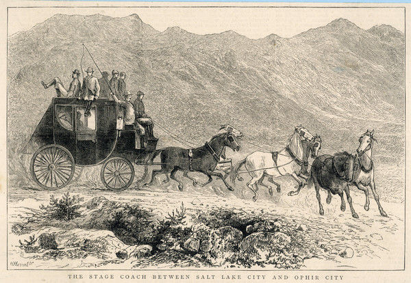 Six horses pull the stage coach between Salt Lake City and Ophir City