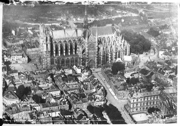 An aerial photograph of Amiens, France, showing the cathedral