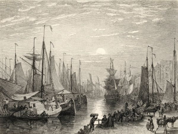 Amsterdam: a busy quayside, with many ships