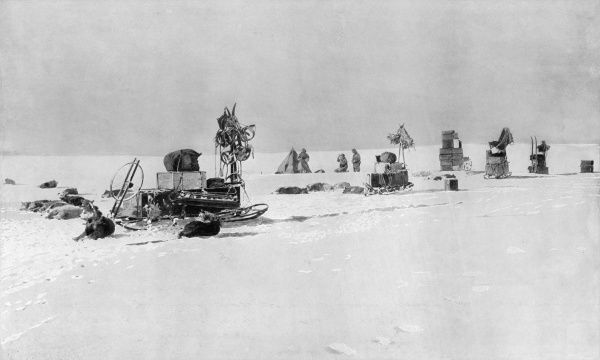 Photograph showing the sledge team of the Amundsen Antarctic Expedition camping on the Level Barrier, on their way to the South Pole, 1911. In December of 1911, Roald Amundsen and four others became the first explorers to reach the South Pole