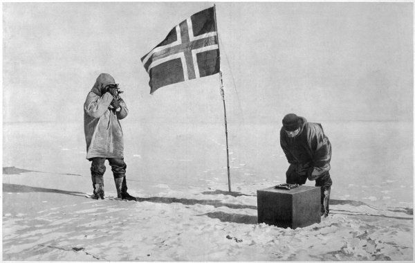 Roald Amundsen, the first to reach the South Pole, did so on 14 December 1911 and returned home safely. Amundsen's men determining the exact location of the S. Pole