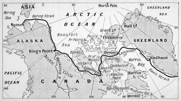 A map showing the route of Amundsen's voyage through the North-west Passage