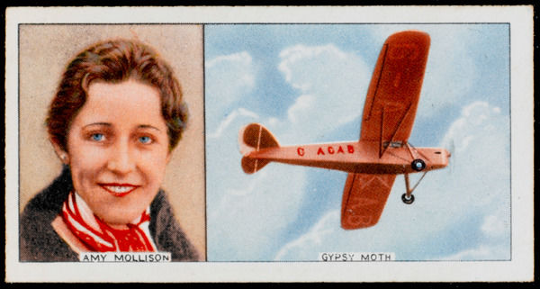 Amy Johnson (Mrs Mollison), pioneer British aviator, and her Gipsy Moth: made several record flights Date: 1903 - 1941