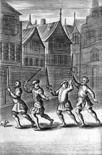 Four Anabaptists proclaim their faith through the streets of Amsterdam. A dog listens but remains unconvinced by their teachings. Date: 21 March 1534