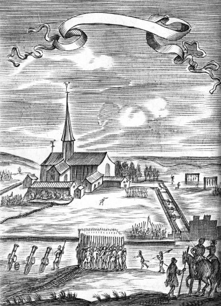 The Spanish governor orders an attack on a body of Anabaptists who have occupied the cloister of Bolswear, in the Netherlands. Date: 9 April 1535