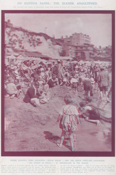 On Kentish Sands; a seaside anaglyph. Although invented some seventy years earlier, the Illustrated London News was the first publication to print 3-dimensional anaglyphs in 1924